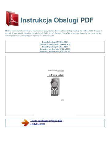 Instrukcja obsługi NOKIA 8210 - INSTRUKCJA OBSLUGI PDF