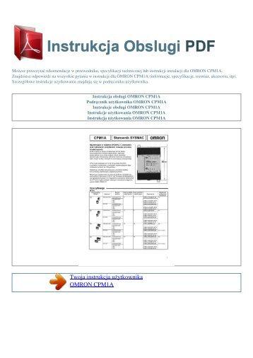 Instrukcja obsługi OMRON CPM1A - INSTRUKCJA OBSLUGI PDF