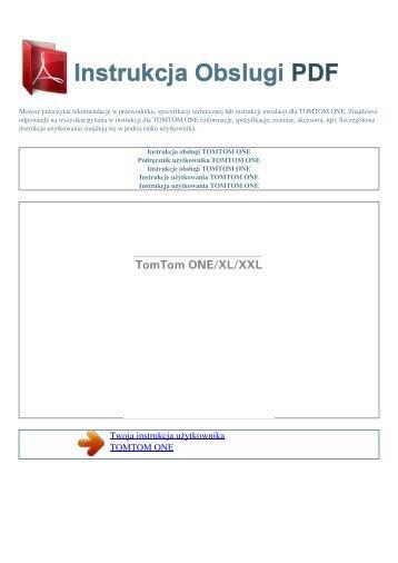 Instrukcja obsługi TOMTOM ONE - INSTRUKCJA OBSLUGI PDF