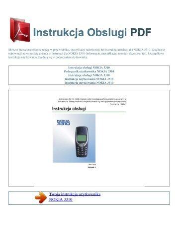 Instrukcja obsługi NOKIA 3310 - INSTRUKCJA OBSLUGI PDF
