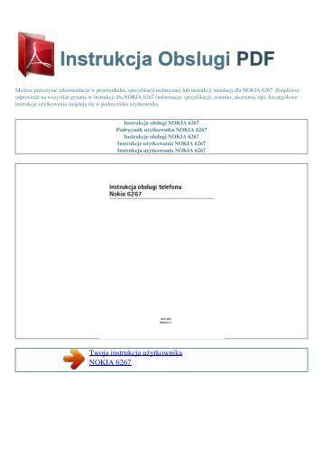 Instrukcja obsługi NOKIA 6267 - INSTRUKCJA OBSLUGI PDF