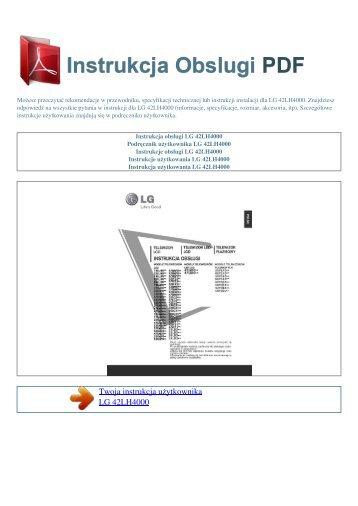 Instrukcja obsługi LG 42LH4000 - INSTRUKCJA OBSLUGI PDF