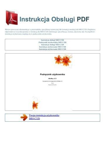 Instrukcja obsługi MIO C320 - INSTRUKCJA OBSLUGI PDF