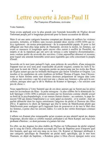 Lettre ouverte à Jean-Paul II - Racines et Traditions en Pays d'Europe