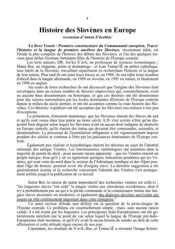 Histoire des Slovènes en Europe - Racines et Traditions en Pays d ...