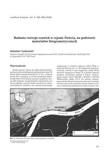 Badania rozwoju osuwisk w rejonie Świecia, na podstawie ...