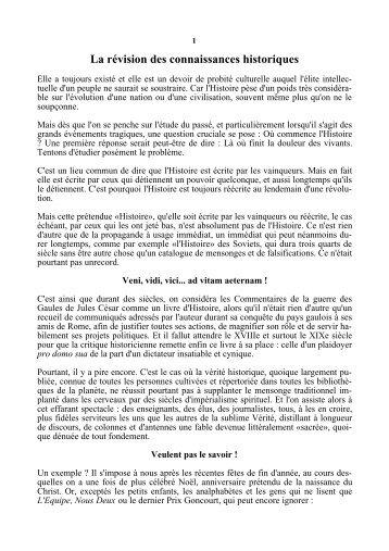 La révision des connaissances historiques - Racines et Traditions ...