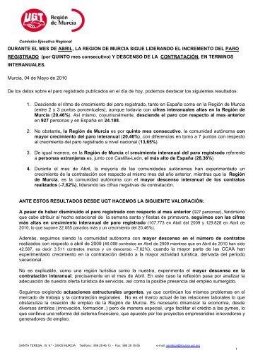 comunicado de prensa paro registrado en febrero marzo 2008