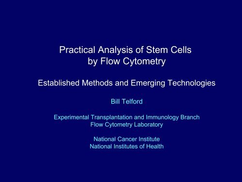 Practical Analysis of Stem Cells by Flow Cytometry