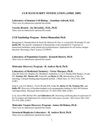 April 2009 CCR Monthly Manuscript Report