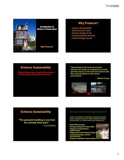 Why Preserve? - University of Utah Graduate School of