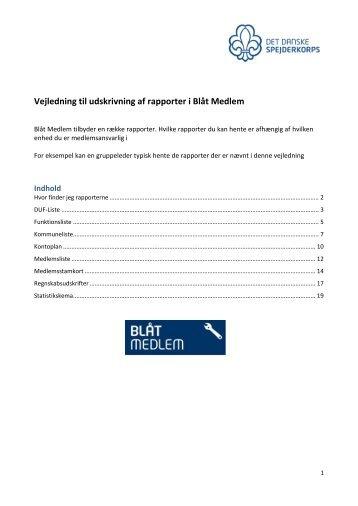 Vejledning til udskrivning af rapporter i Blåt Medlem