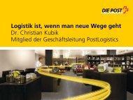 Logistik ist, wenn man neue Wege geht Dr. Christian Kubik