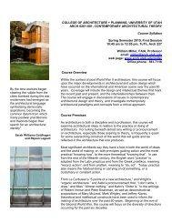 Syllabus - University of Utah Graduate School of Architecture