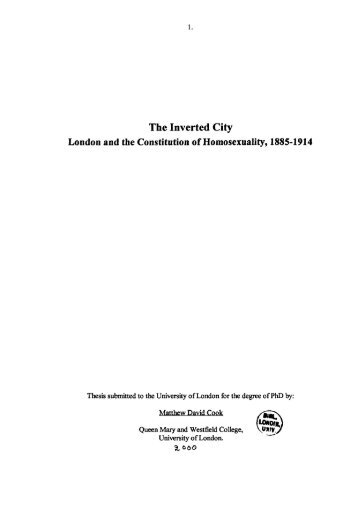 The Inverted City London and the Constitution of Homosexuality ...