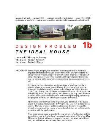 theidealhouse - University of Utah Graduate School of Architecture