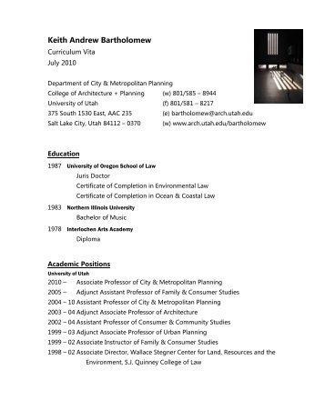 Keith Andrew Bartholomew - University of Utah Graduate School of ...