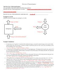 The Laws of Thermodynamics The First Law of Thermodynamics ...