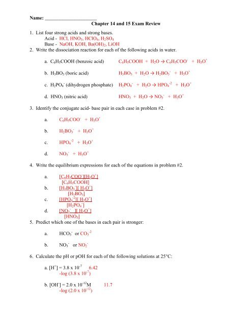 Exam Review Sheet Answer Key
