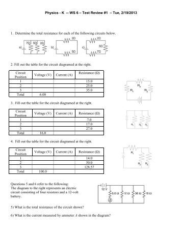 series and parallel circuits worksheet hopkinton school district. Black Bedroom Furniture Sets. Home Design Ideas