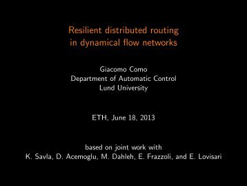 Resilient distributed routing in dynamical flow networks