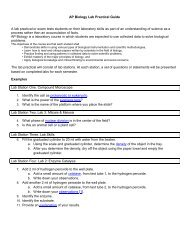 AP Biology Lab Practical Guide A lab practical or exam tests ...