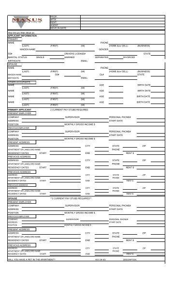 rent application form