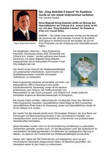 "Der ""King Abdullah II Award"" für Exzellenz wurde an vier lokale ..."