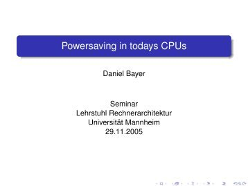 Powersaving in todays CPUs