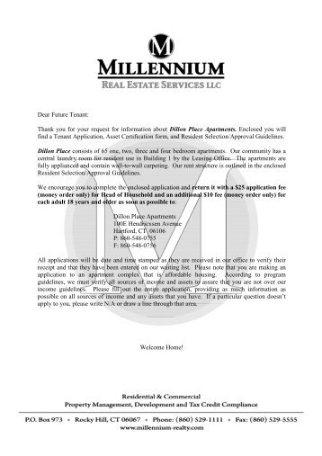 Thank you for your request for information about Dillon Place ...