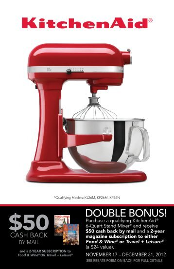 Mail-in Rebate Form The KitchenAid Brand MasterCard