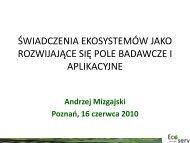 świadczenia ekosystemów jako rozwijające się pole badawcze i ...