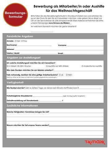 bewerbung als mitarbeiterin oder aushilfe fr das tk maxx - Bewerbung Als Mitarbeiter