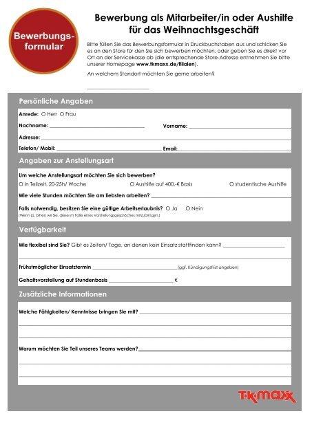 Bewerbung Als Mitarbeiterin Oder Aushilfe Für Das Tk Maxx