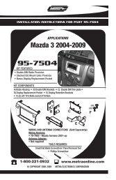 95-7504 Mazda 3 2004-2009 - Sonic Electronix