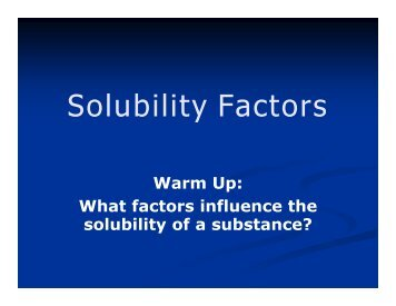 Solubility Factors