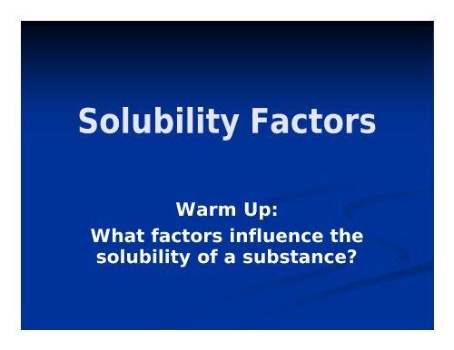 Solubility Factors
