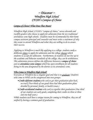 Discover ~ – Windfern High School CFISD's Campus Of Choice