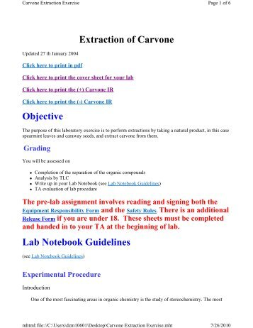 Extraction of Carvone