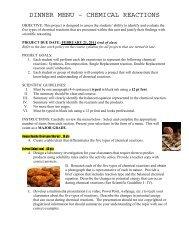 DINNER MENU – CHEMICAL REACTIONS