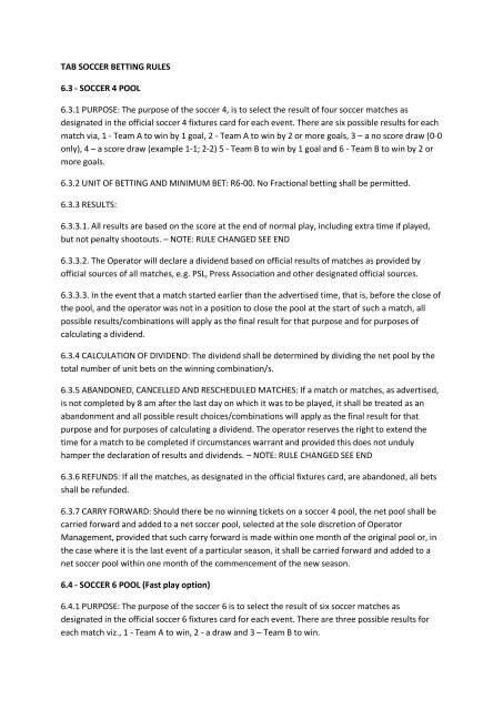 TAB SOCCER BETTING RULES 6 3 - SOCCER 4 POOL 6 3 1