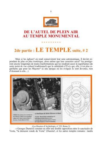 DE L'AUTEL DE PLEIN AIR AU TEMPLE MONUMENTAL 2de partie ...