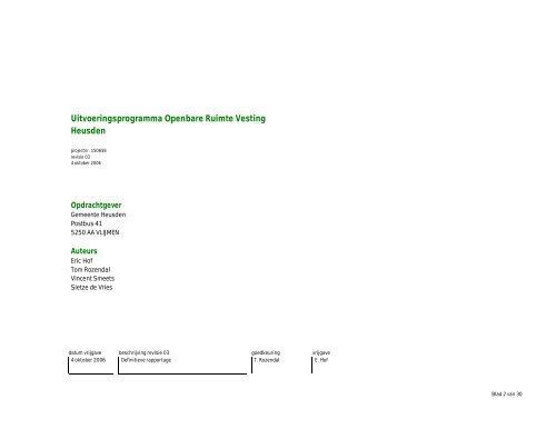 Uitvoeringsplan openbare ruimte Vesting Heusden