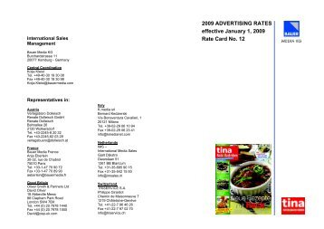 2009 ADVERTISING RATES effective January 1, 2009 Rate Card ...