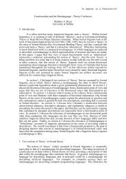 To appear in a Festschrift Functionalism and the Metalanguage ...