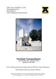 Preisliste Transportbeton - Albert AMOS Gmbh & Co. KG
