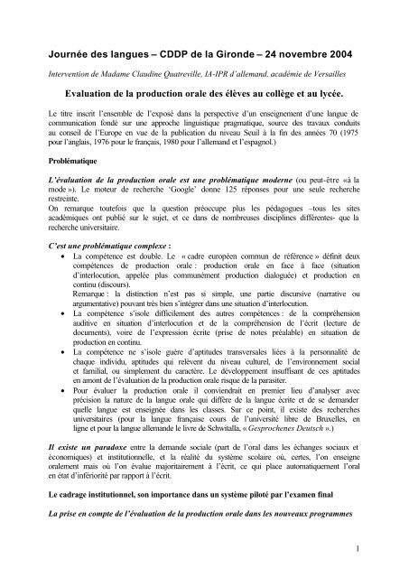 Evaluation Production Orale College Lycee