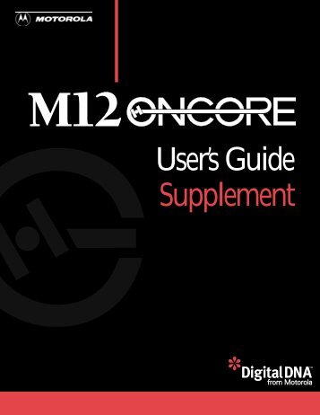 M12 Oncore Users Guide Supplement - deetc - isel