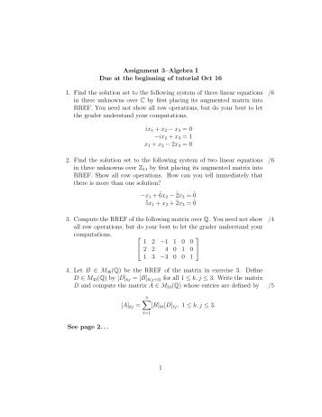Assignment 3–Algebra I Due at the beginning of tutorial Oct 16 1 ...