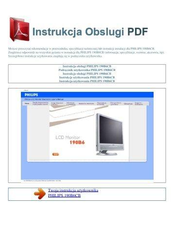 Instrukcja obsługi PHILIPS 190B6CB - INSTRUKCJA OBSLUGI PDF